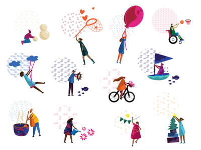 colorHIVE characters basketball seasons winter holiday boat bike movement human body characters pattern lifestyle health active fun fitness humans kids children icons illustration