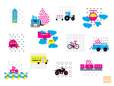Love on the Move vector art flat pattern flatcolor plane road bike train love motorcyle boat car truck helicopter rocket tractor transportation kids color icons illustration