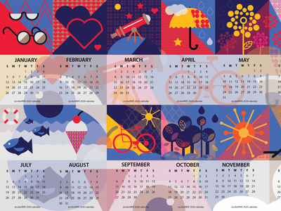 colorhive 2020 calendar fun calendar vector heart modern cute umbrella flower flatdesign nature fish icecream bike design flat kids icons illustration