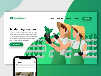 Hydroponic Farm - Landing Page ui design landing page hydroponics agriculture farmer farm illustration web