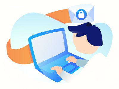 Security mail - Seald.io work vector artwork guy computer pc vector gradient digital illustration ux mail