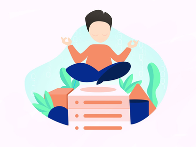 Zen data seald.io database mail zen character design data serveur yoga vector digital illustration web