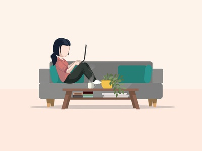 Bureaux Du Futur - Work from home plant couch desktop character design web vector character illustration