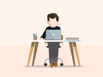 Bureaux Du Futur - work desk character design illustrator office worker human desktop work work desk desk vector illustration