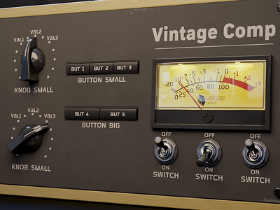 How about the dark Vintage Compressor? interface kit synth audio compressor gui vintage template ui
