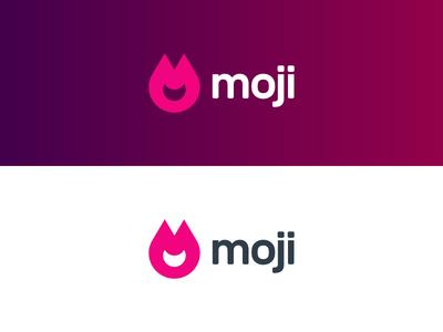 moji smirk look happy bad vicious logo design letters m letter figure drop solid emotes design logo application evil smile smile fire ears evil emote