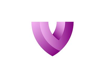 V / shield defense cover guard security safeguard armor defend save safe gradient pink purple v protect protection shield letter letters logo design
