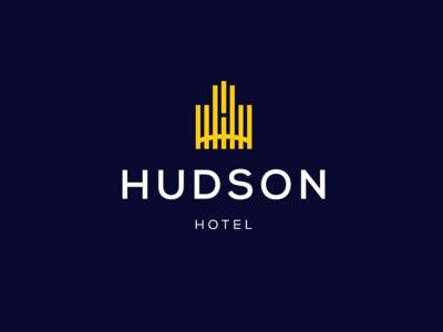 Hudson hotel logo satisfaction facility rest ux ui garnys relief relaxation pleasure enjoyment business rich comfort luxury motel resort house hostel logo design hotel