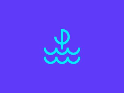 P / Sailor / Logo design sailboat symbol minimalism geometric object garnys logo design identity mark cruise windy wind waves dock deck underwater water sailor seal sail