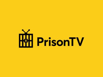 PrisonTV tube receiver station box audio video idenitty garnys logo design mark detainee captive convict lockup antenna jail channel tv lock prison