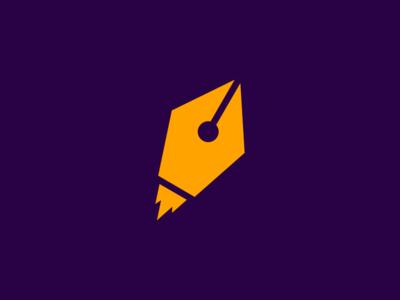 Rocket / Pen logodesign glow heat firework geometrical spaceship fire hot ui  ux ui garnys mark identity minimalist minimal geometric missile space pen rocket