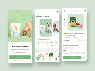 Pet Shop App. app mobile ux ui
