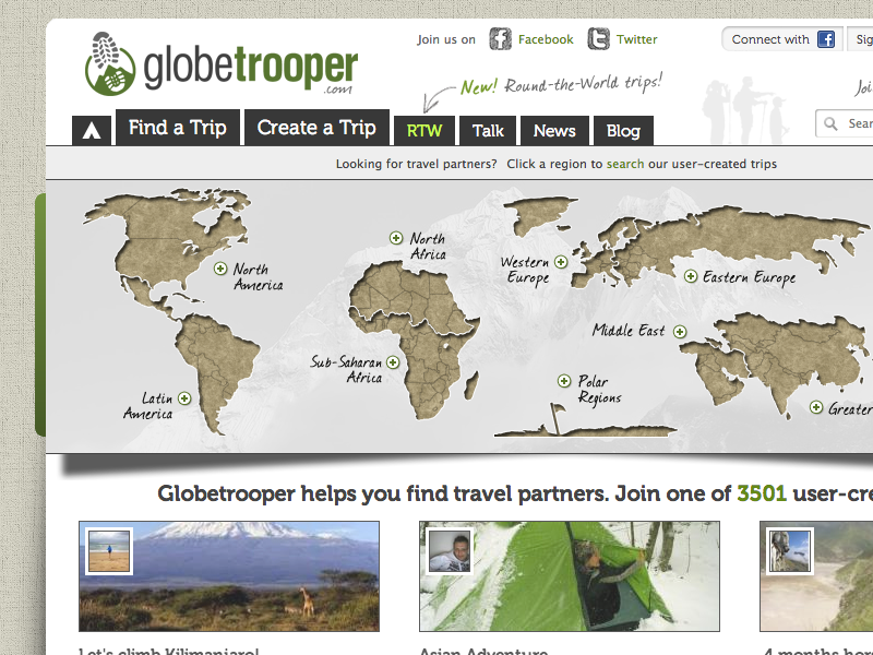 Globetrooper Home Page travel homepage