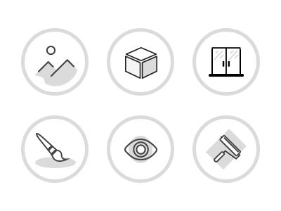 Icons set for design studio