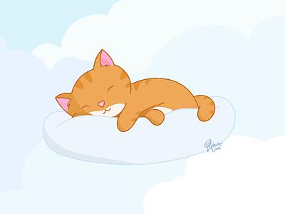 Friday Feels –Sleeping Cat serif affinity affinity designer flat illustration flat design clouds sleep cat flat vector design illustration