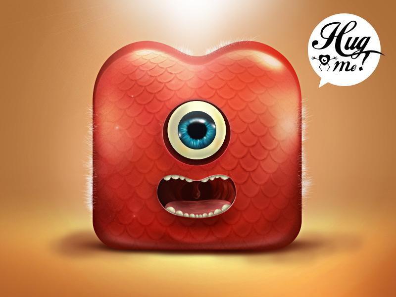 Hug me ! idea sale unused iphone application ipad mobile ui ios photoshop illustration icon hug me coeur love heart monster painting