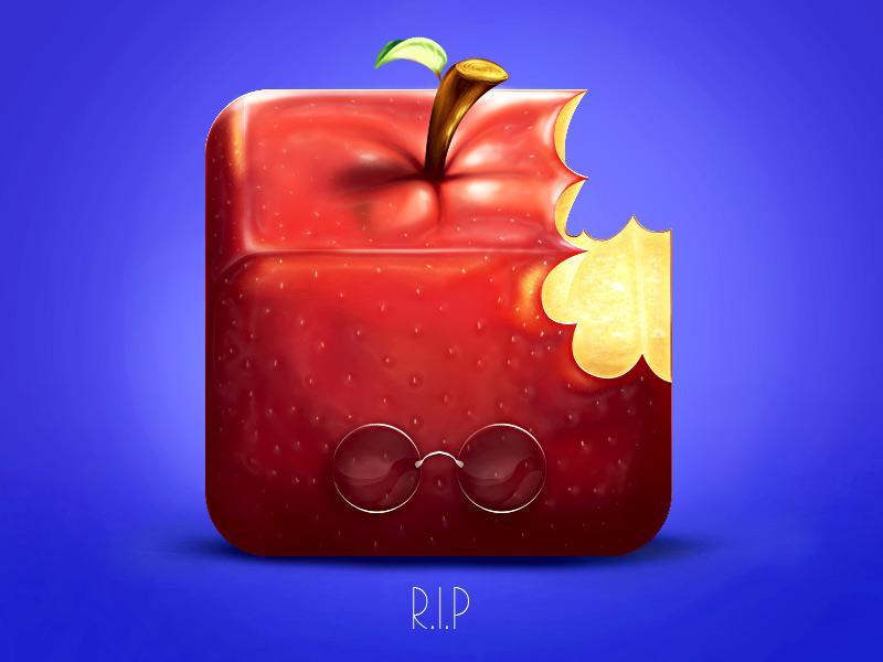 Macintosh icon apple painting photoshop illustration fruit mac steve jobs iphone ipad mobile pomme macintosh rest in peace