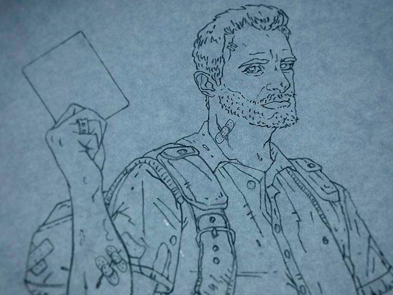 Z SURVIVOR drawing process handdrawn characters wip pencil sketch illustration zombie survivor
