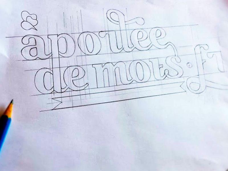 À portée de mots typography type sketch pencil identity font face calligraphy brush branding logo lettering