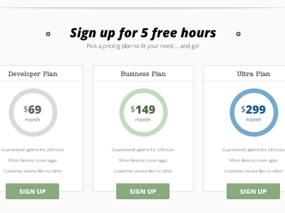 Pricing Table ui conversion pricing table signup cta