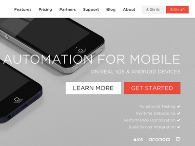 Automation for Mobile landing page website web 3d home page ui flat