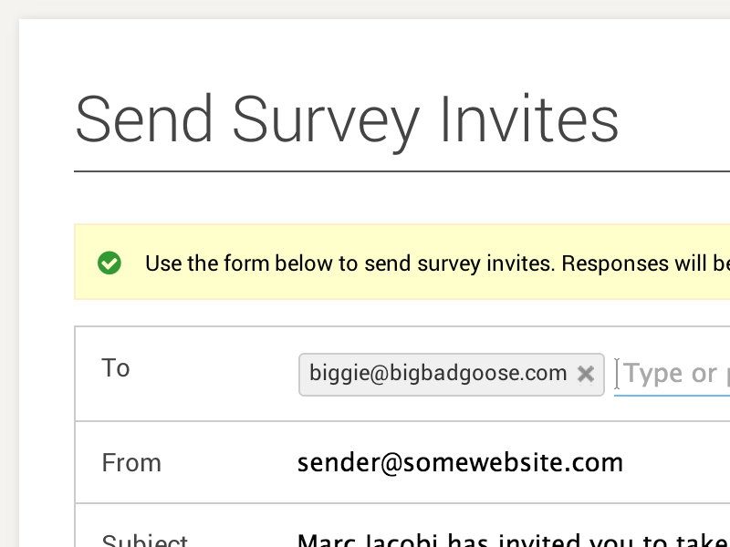 Send Invite Form form email autocomplete ui ux clean