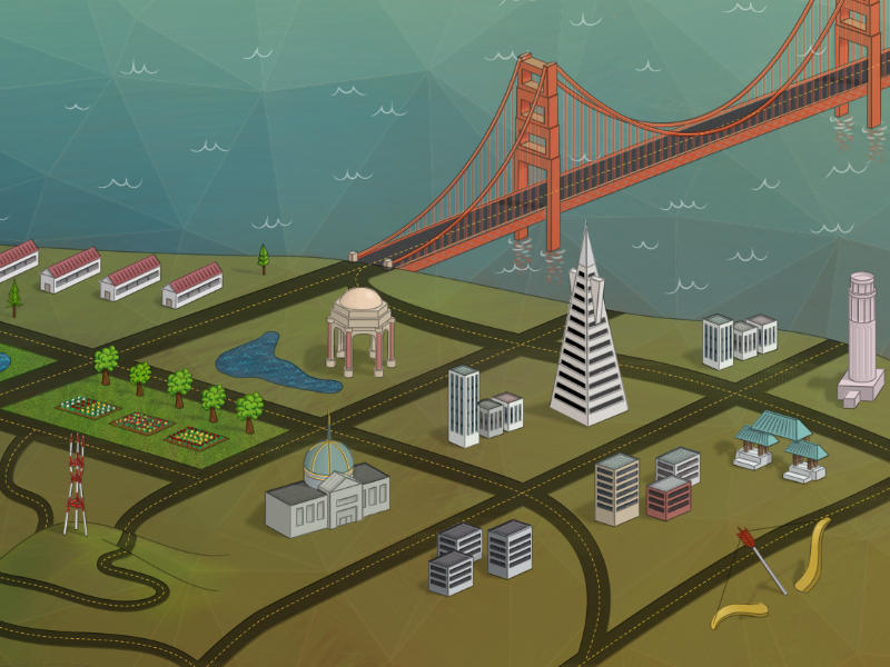 Biggie in San Francisco landscape illustration map hero branding brand san francisco golden gate buildings bridge