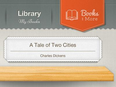 Library ipad reader navigation ui nameplate wood bookshelf