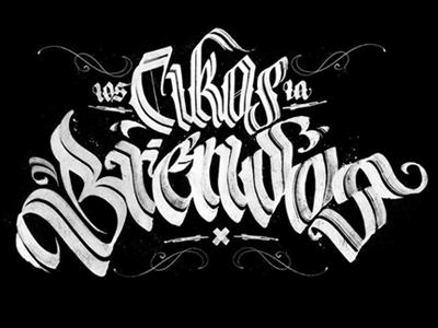 Calligraphy: Los Cikos La Brendos calligraphy lettering black white lampas pokras gothic fractur