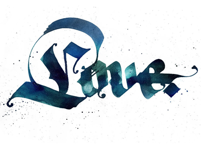 Calligraphy: Love calligraphy lettering tattoo gothic fraktur pokras lampas