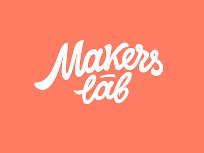 Logo: Makers Lab calligraphy lettering pokras lampas logo