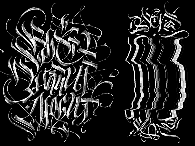 Modern gothic calligraphy collection by pokras lampas