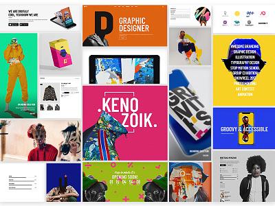 Kenozoik - Vibrant Portfolio Theme portfolio modern logo illustration collage bold font art bold ui  ux ui graphic  design design