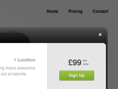 Pricing Modal modal pricing sign up cta call to action lightbox