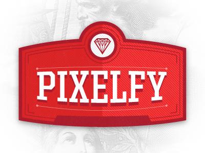 Pixelfy logomark logo red vintage retro awesomeness