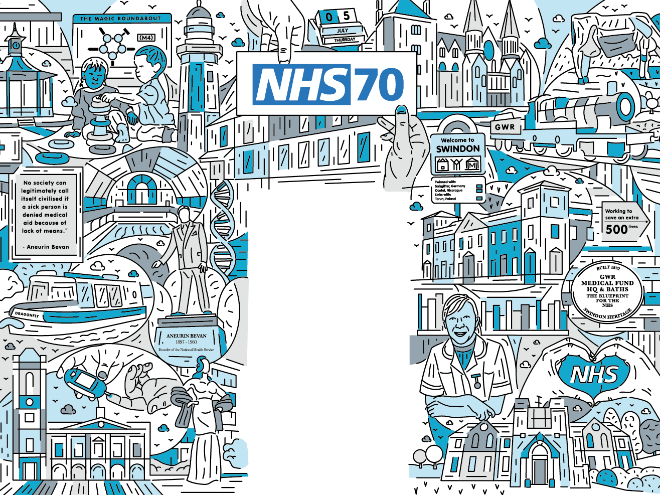 NHS 70 drawing vector digital illustration