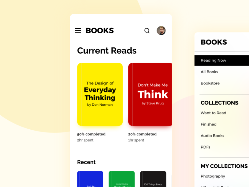 Books App concept Design - Android mobile app design ui clean design user interface user experience flat design adobe xd