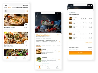 Culinaire Food Delivery App mobile app design madewithxd clean design user interface flat design adobe xd