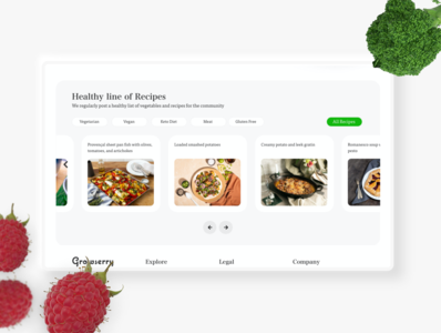 Healthy Food website - Growserry website design user interface user experience ui madewithxd healthy healthyrecipes healthfood foodwebsite food app food flat design adobe xd