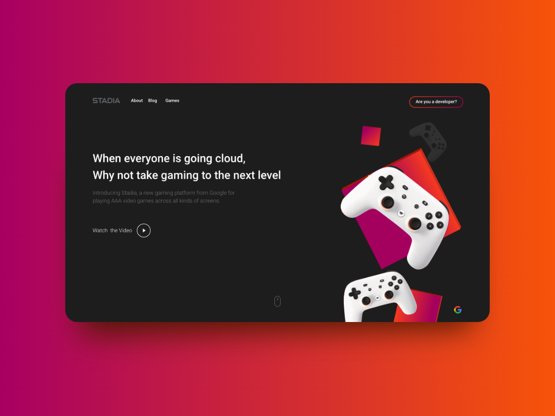 Stadia Website - Design Concept dark mode darkmode gaming website stadia website design website design design ui user interface user experience flat design adobe xd