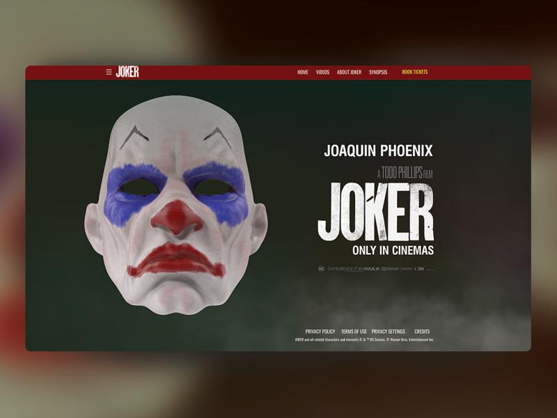 Joker Movie Landing Page adobexd madewithxd design jokermovie ui ux