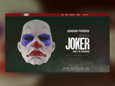 Joker Movie Landing Page adobexd madewithxd design jokermovie ui ux