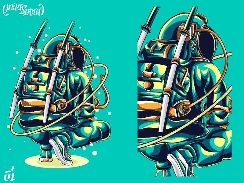 Astromurai unique cool sword katana samurai people astronaut galaxy space graphic vector digital design t shirt design illustrator detailed digital illustration creative illustration illustration graphic artist graphic design