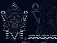 Mythical Angry Lion Sacred Geometry