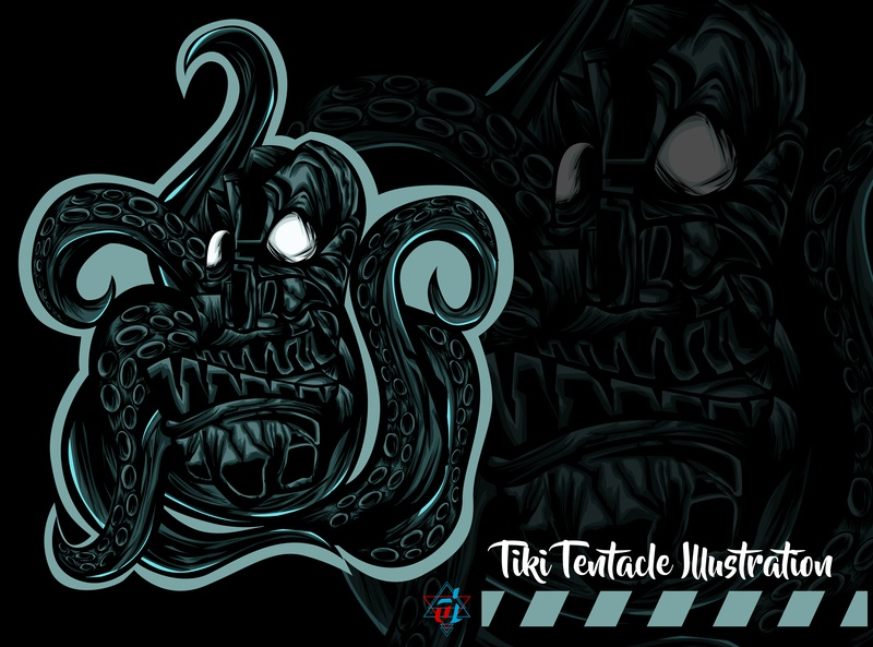 Tiki Tentacle Illustration tentacle creative  design digital artist vector illustrator t shirt design digital illustration digital design creative illustration detailed illustration graphic design graphic artist