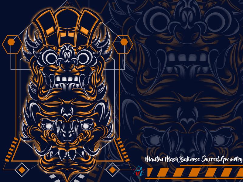 Manten Mask Balinese Sacred Geometry creative design vector sacred geometry creative  design t shirt design digital design illustrator digital illustration creative illustration illustration detailed graphic design graphic artist