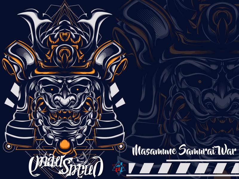 Masamune Samurai War samurai design graphic digital artist vector creative  design sacred geometry t shirt design digital design illustrator digital illustration creative illustration illustration detailed graphic design graphic artist