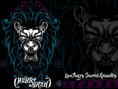 Lion Angry Sacred Geometry