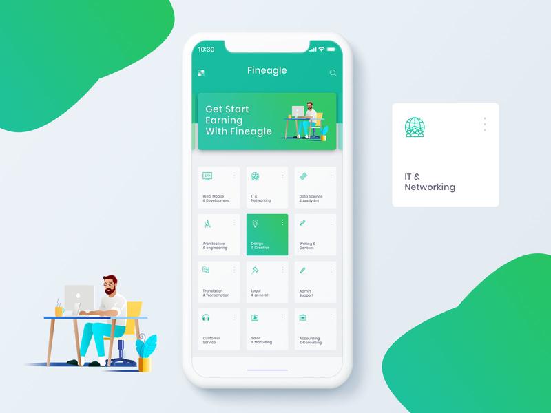 Fineage App UI minimal flat design app branding illustration ux ui