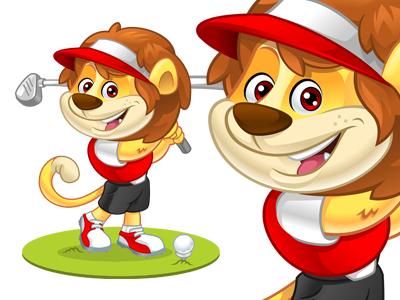 Kiddie Lion Golfer lion golf mascot cartoon character vector illustrator